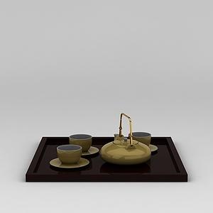 中?#25945;?#29943;茶具套装模型3d模型