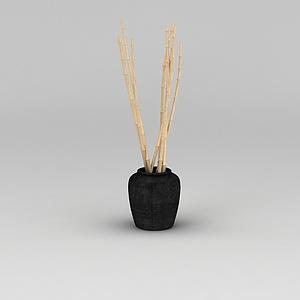 中式家具黑色壇子模型3d模型