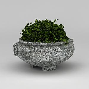 3d石制<font class='myIsRed'>花盆</font>景观摆件模型