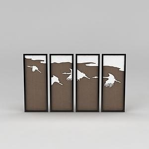 中式家具飛鶴背景墻牌匾模型3d模型