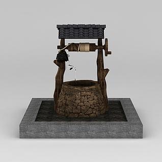 中式古井水井3d模型3d模型