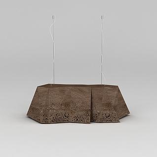 创意中式灯具木雕吊灯3d模型3d模型