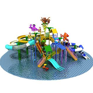 大型水上乐园儿童乐园3d模型