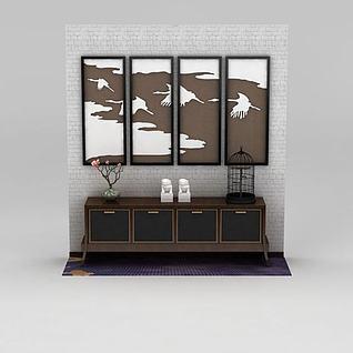 中式边柜挂画背景墙套装3d模型