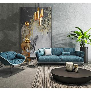 时尚蓝色布艺沙发黑色实木圆几组合3d模型3d模型