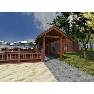 沙滩木屋休息亭3d模型