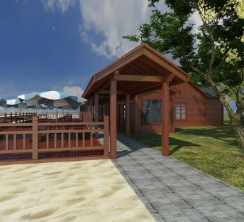 沙滩木屋休息亭