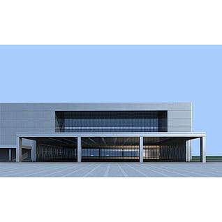 现代厂房工业楼建筑3d模型3d模型