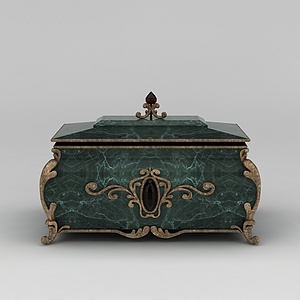 欧式复古珠宝首饰盒模型3d模型