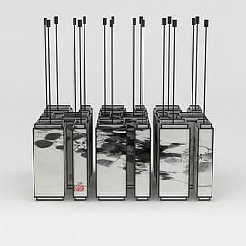 中式古典水墨画吊灯3d模型