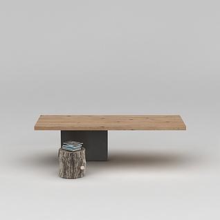 简易木凳桌子组合3d模型3d模型