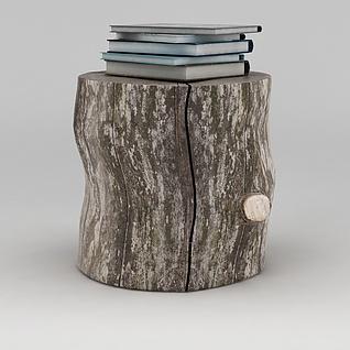 书本木凳组合3d模型3d模型
