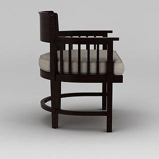 中式实木扶手椅3d模型3d模型