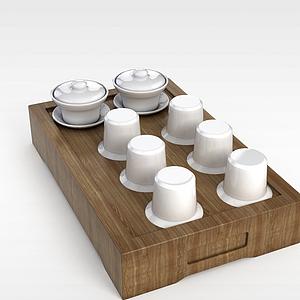 中式白色茶杯套装模型3d模型