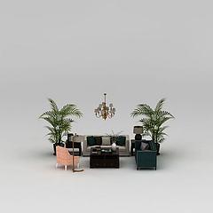 现代客厅沙发组合模型3d模型