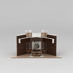 新中式书房家具组合3D模型3d模型
