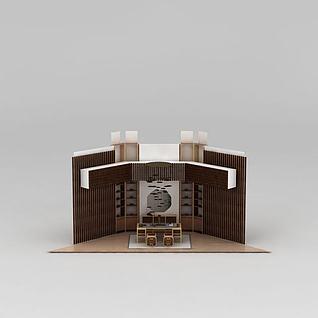 新中式书房家具组合3d模型