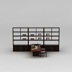中式书桌椅陈设品组合模型3d模型