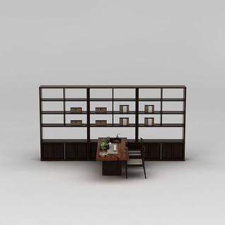 中式书桌椅陈设品组合3d模型3d模型