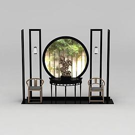 中式木椅太湖石摆件组合3d模型