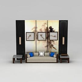 新中式沙发边几立体装?#20301;?#32452;合模型