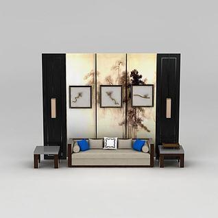 新中式沙发边几立体装饰画组合3d模型