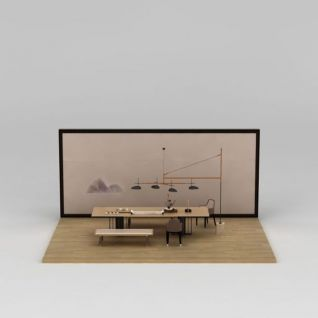 中式书房桌椅组合3d模型