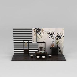 中式茶几桌椅组合3d模型