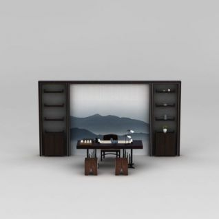 中式风格书房桌椅组合3d模型