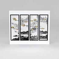 新中式山水意境立体画四联画3D模型3d模型