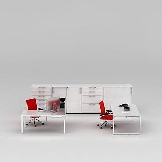 现代简约办公桌椅3d模型