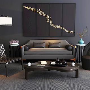 新中式沙发茶几陈设品组合3d模型