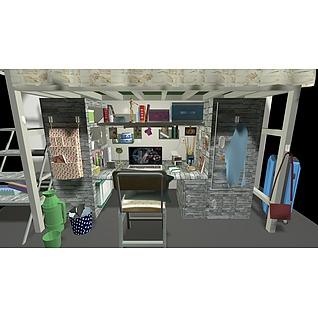 学生宿舍桌椅陈设品组合3d模型