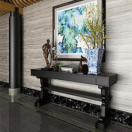 中式风格玄关背景墙模型
