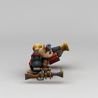 召唤师联盟浣熊炮手3d模型