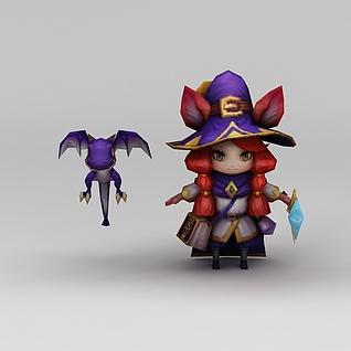 召唤师联盟仙境女巫游戏角色3d模型