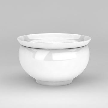 3D中式簡約風格白瓷罐子模型