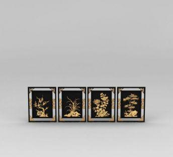 中式豪华高档雕花边框挂画组合