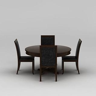 中式实木圆形餐桌椅子组合3d模型