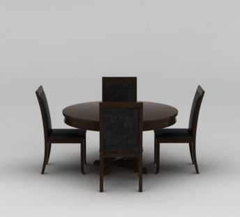 中式实木圆形餐桌椅子组合