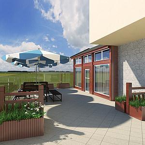 鄰里中心二樓小木屋鮮花店模型3d模型