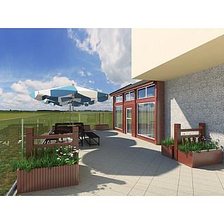 邻里中心二楼小木屋鲜花店3d模型