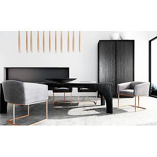 时尚简约实木桌椅家具组合3d模型