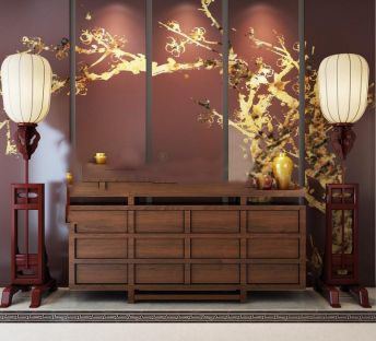 中式实木边柜背景墙组合