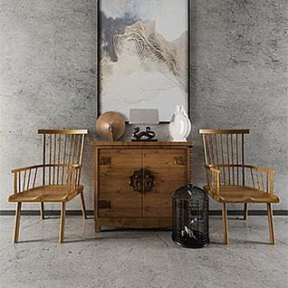 中式简约实木边柜椅子组合3d模型