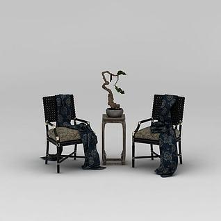 中式精品椅子边几组合3d模型