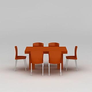 橙色简约餐桌椅组合3d模型