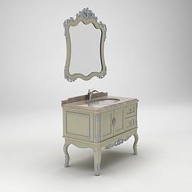 欧式雕花浴室柜模型