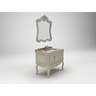 欧式雕花浴室柜3d模型