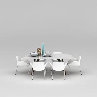现代时尚白色餐桌椅组合3d模型